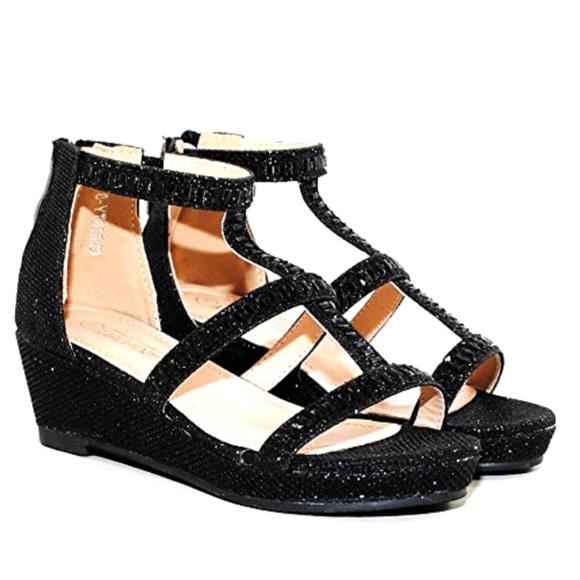 48da58cba685 Little Girls Sparkle Rhinestones Wedge Dress Shoes